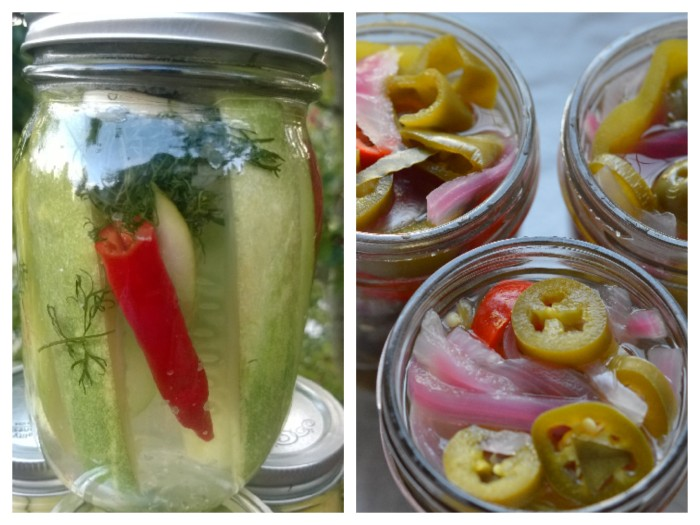 Pickled Jalapenos and cucumbers
