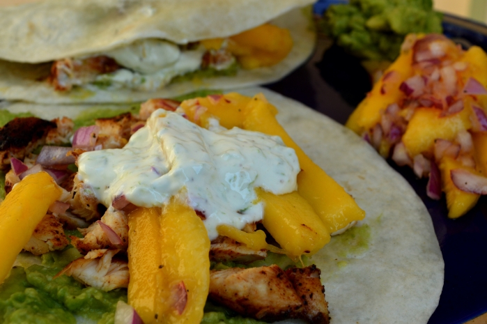 adobo chicken tacos with mango